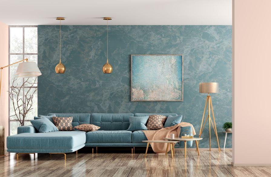 Modèle De Canapé Bleu Dans Un Salon Rose Et Bleu, Une Harmonie Parfaite