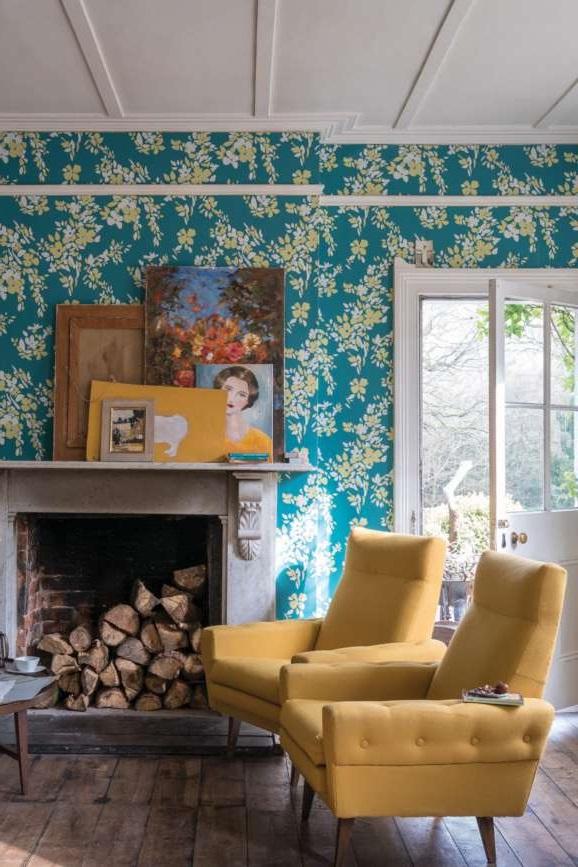 Papier Peint Floral Vert Canard