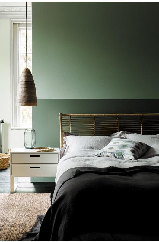 Chambre Avec Deux Nuances De Vert Sur Les Murs