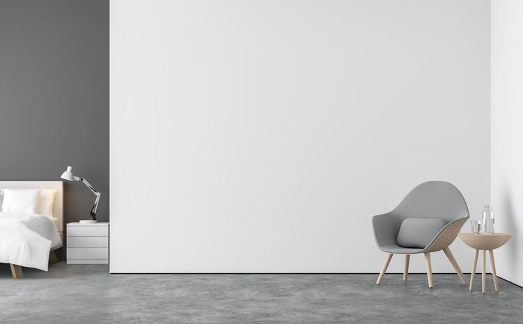 Chambre Avec Une Peinture Murale Bicolore