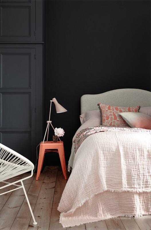 Chambre Moderne D'ado En Noir Et En Orange
