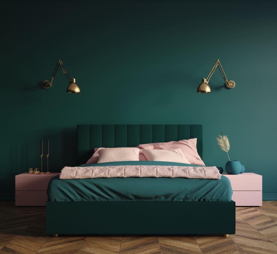 Chambre Verte Avec Textile Rose