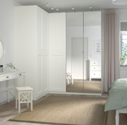 Garde Robe D'angle Blanche Avec Miroir