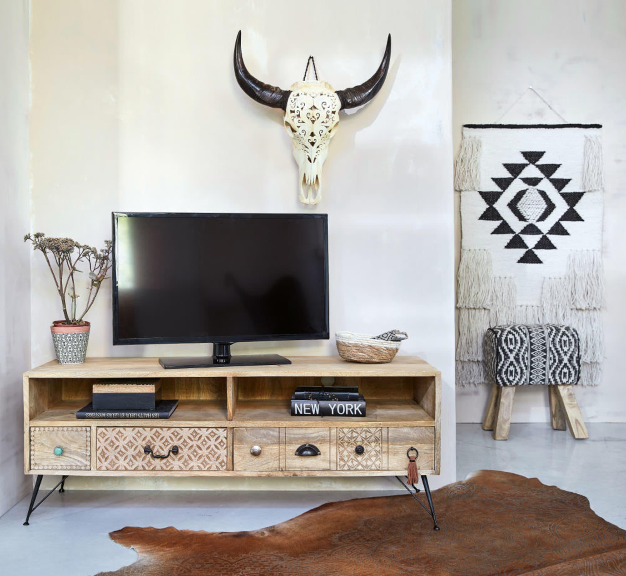 Meuble Tv à Tiroirs En Bois Massif