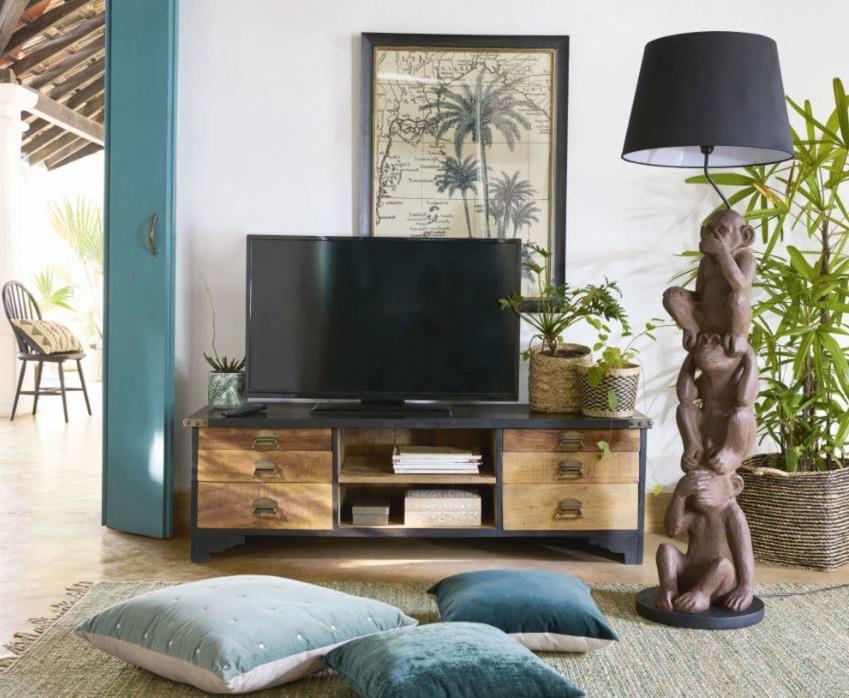 Meuble Tv En Bois Avec Plateau Noir
