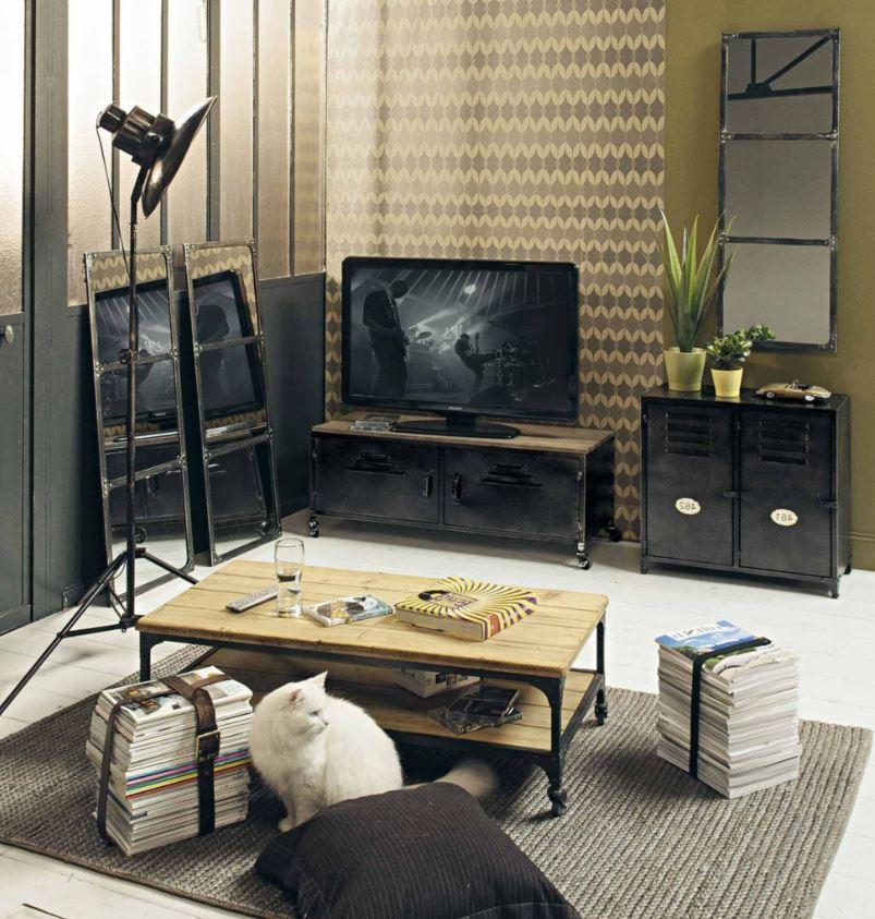 Meuble Tv Noir, à Roulettes, De Style Industriel