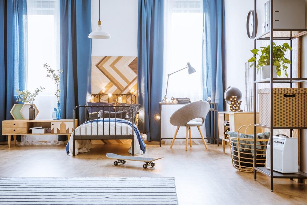 Une Chambre D'ado Avec Des Teintes De Bleu Pour Une Ambiance Apaisée