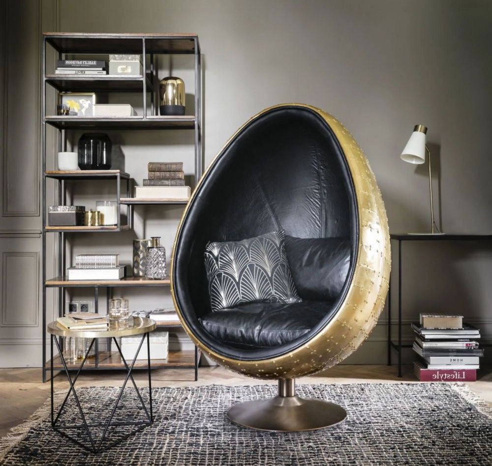 Coquille Fauteuil Oeuf Noir Et Or
