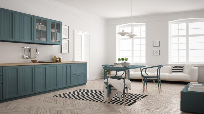 Cuisine Bleue Et Blanche, Un Style Minimaliste Très Moderne