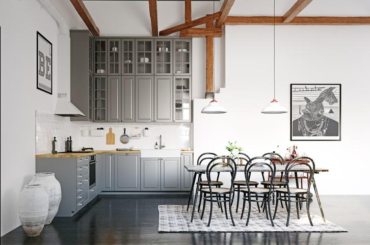 Loft Moderne Avec Une Cuisine En Gris Et En Bois