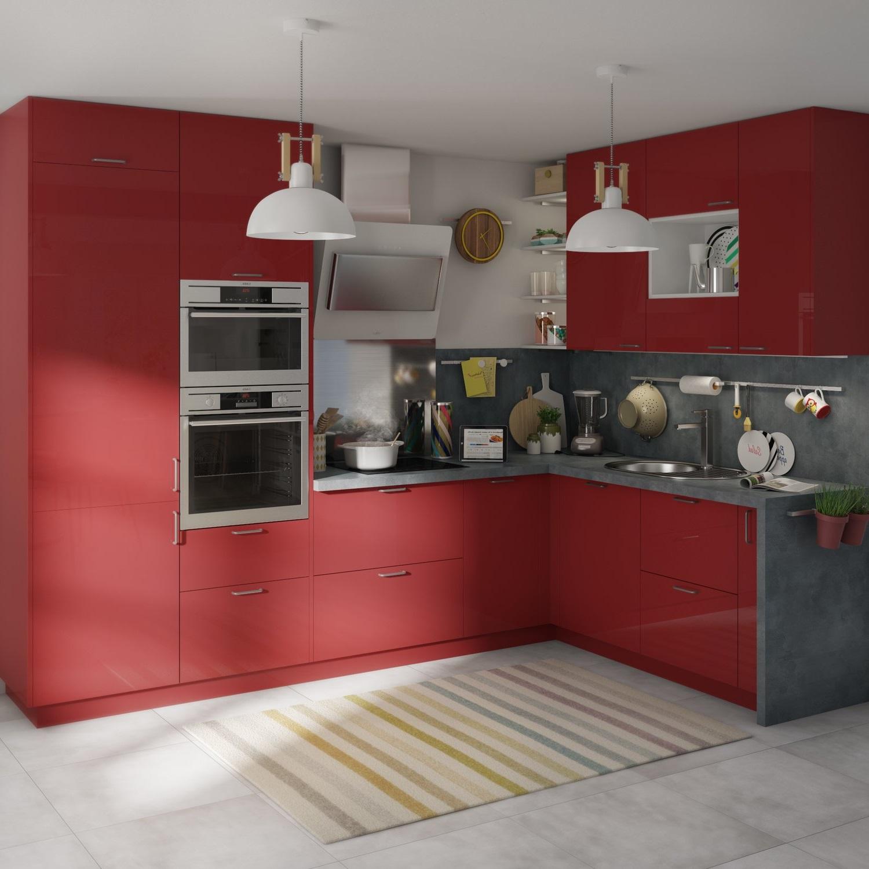 Cuisine Rouge, Creme Et Beton