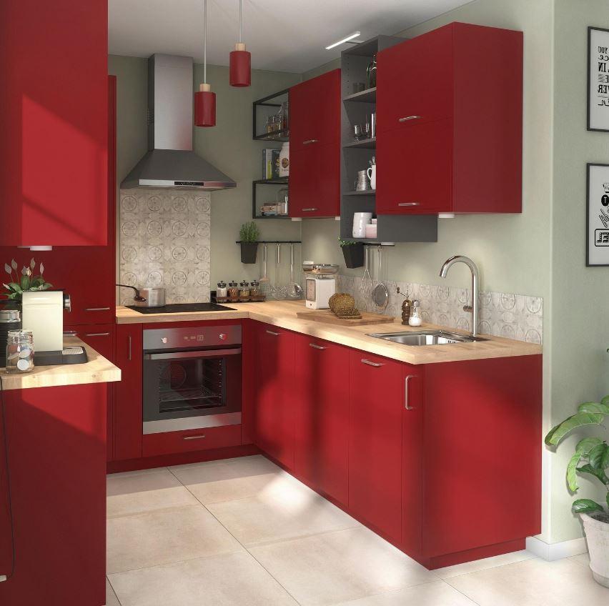 Cuisine Rouge Et Vert Sauge