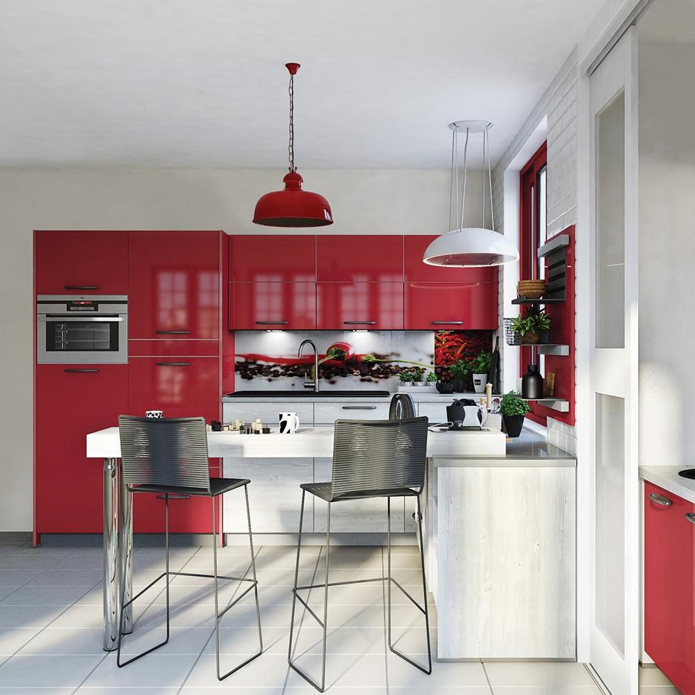 Cuisine Rouge Et Creme