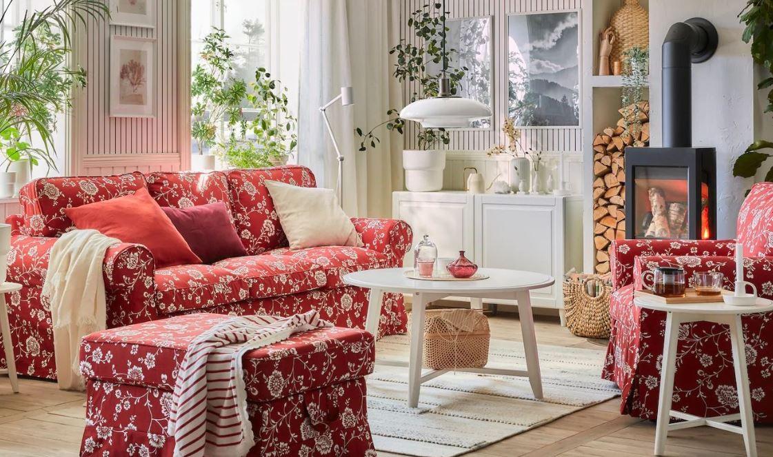 Salon Romantique Blanc Et Rouge