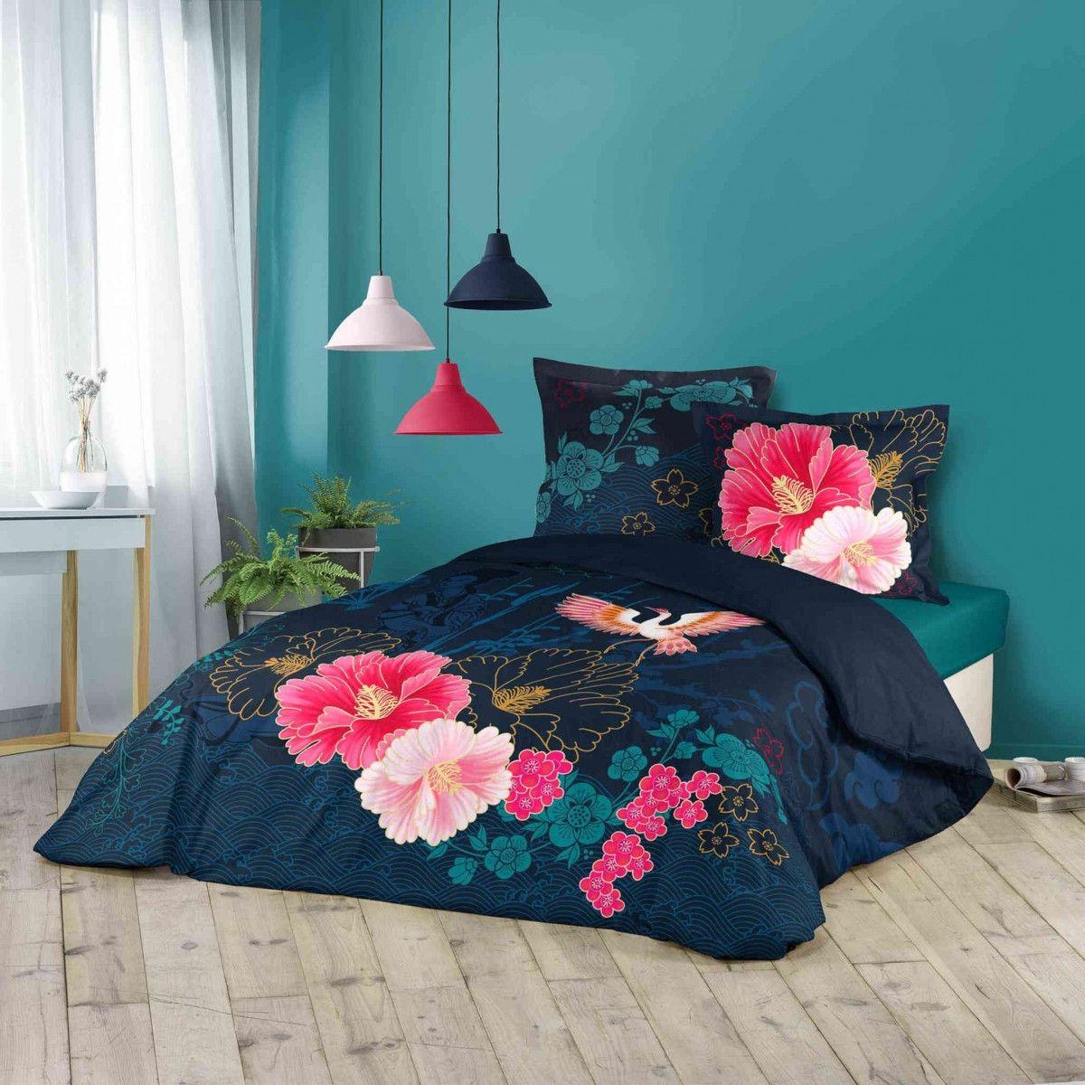 Bleu Fonce Et Roses
