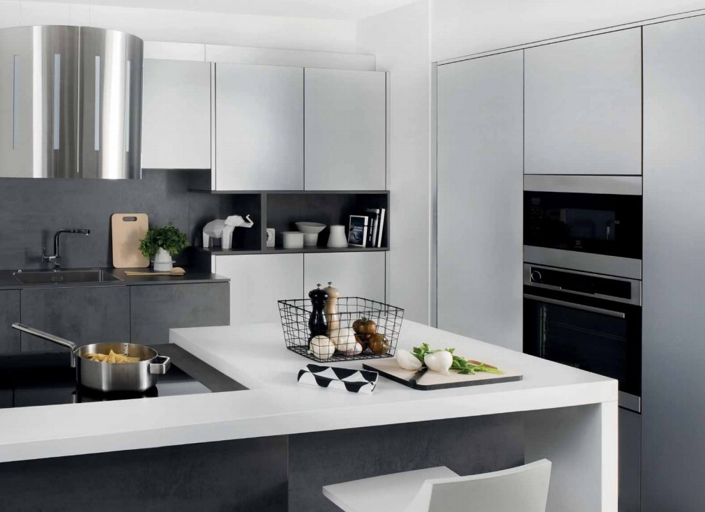 Cuisine Blanche Et Noire Effet Béton Silvia Steel