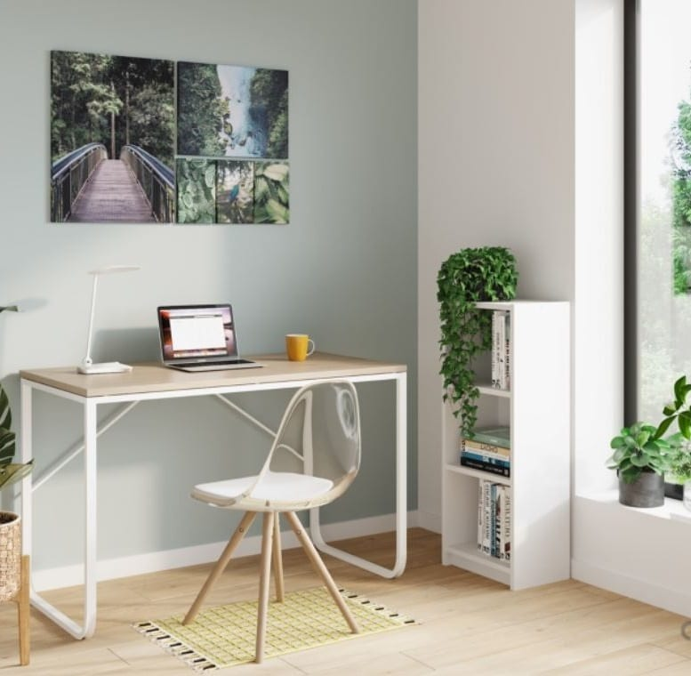 Bureau Avec Plateau Réversible Verso Imiltation Chêne Et Blanc