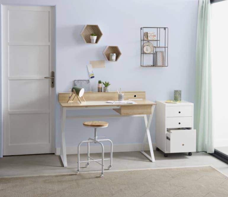 Bureau Alex Imitation Chêne Et Blanc