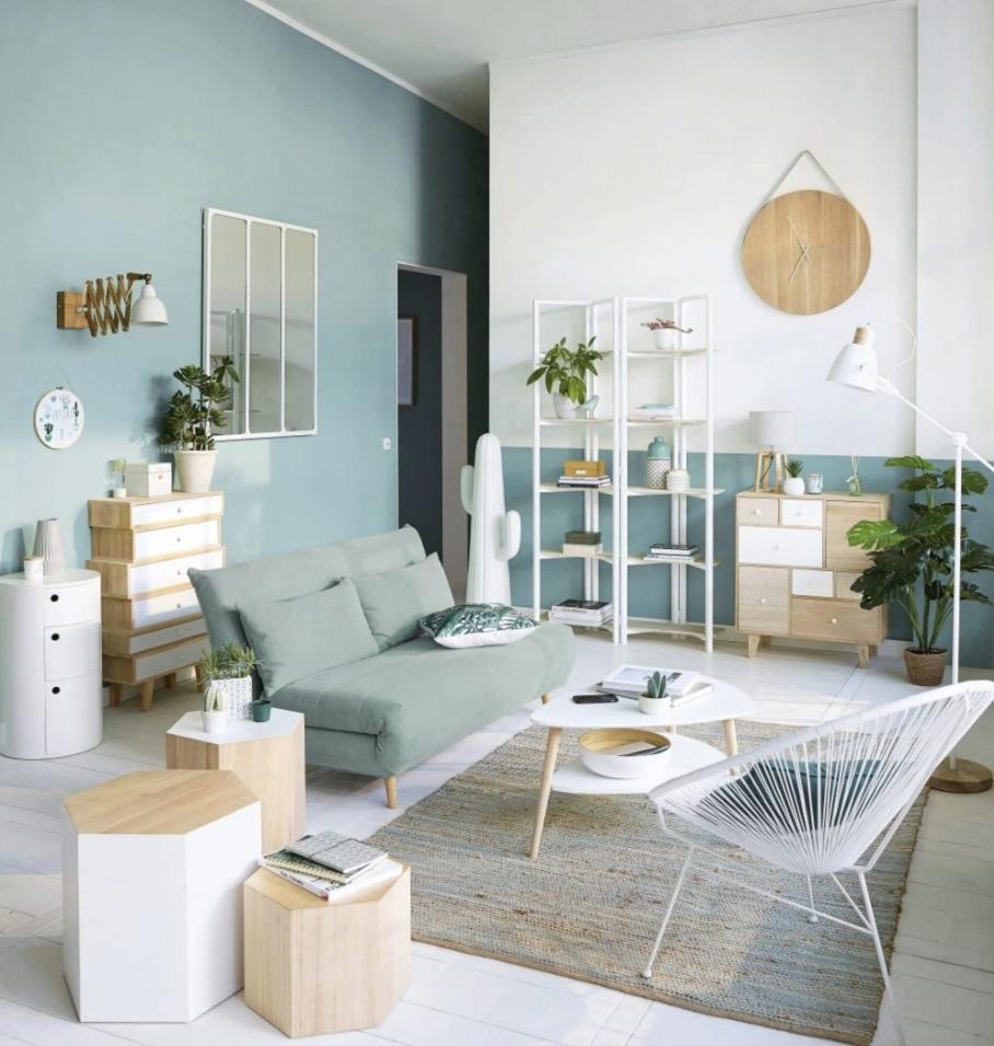 Salon Style Scandinave Avec Des Murs Bleu Glacier