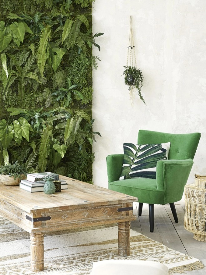 Un Mur Végétal, Un Coussin Au Motif Naturel Pour Un Style Tropical