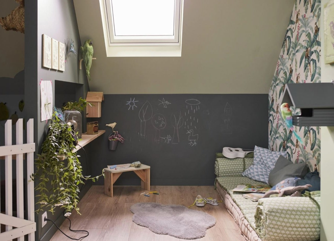 Vert Gris Pour Cette Chambre Au Style Naturel