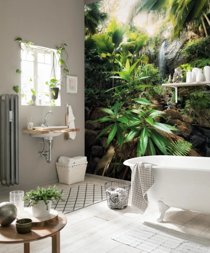 Une Salle De Bain De Style Tropical