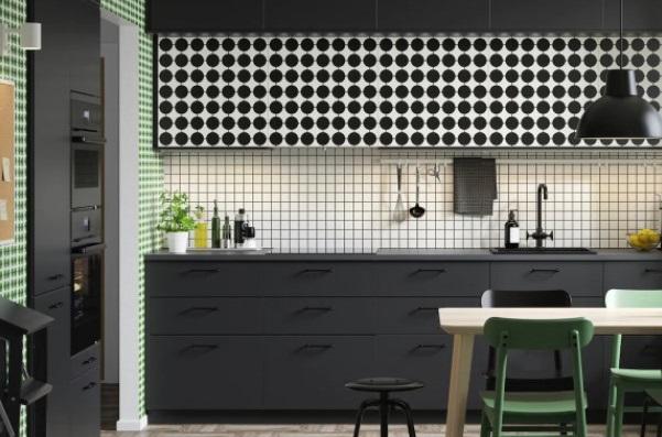 Cuisine Noire Et Blanche Avec Des Pointes De Vert