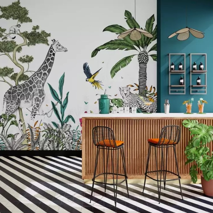 Ambiance Tropicale Avec Le Décor Mural Xl