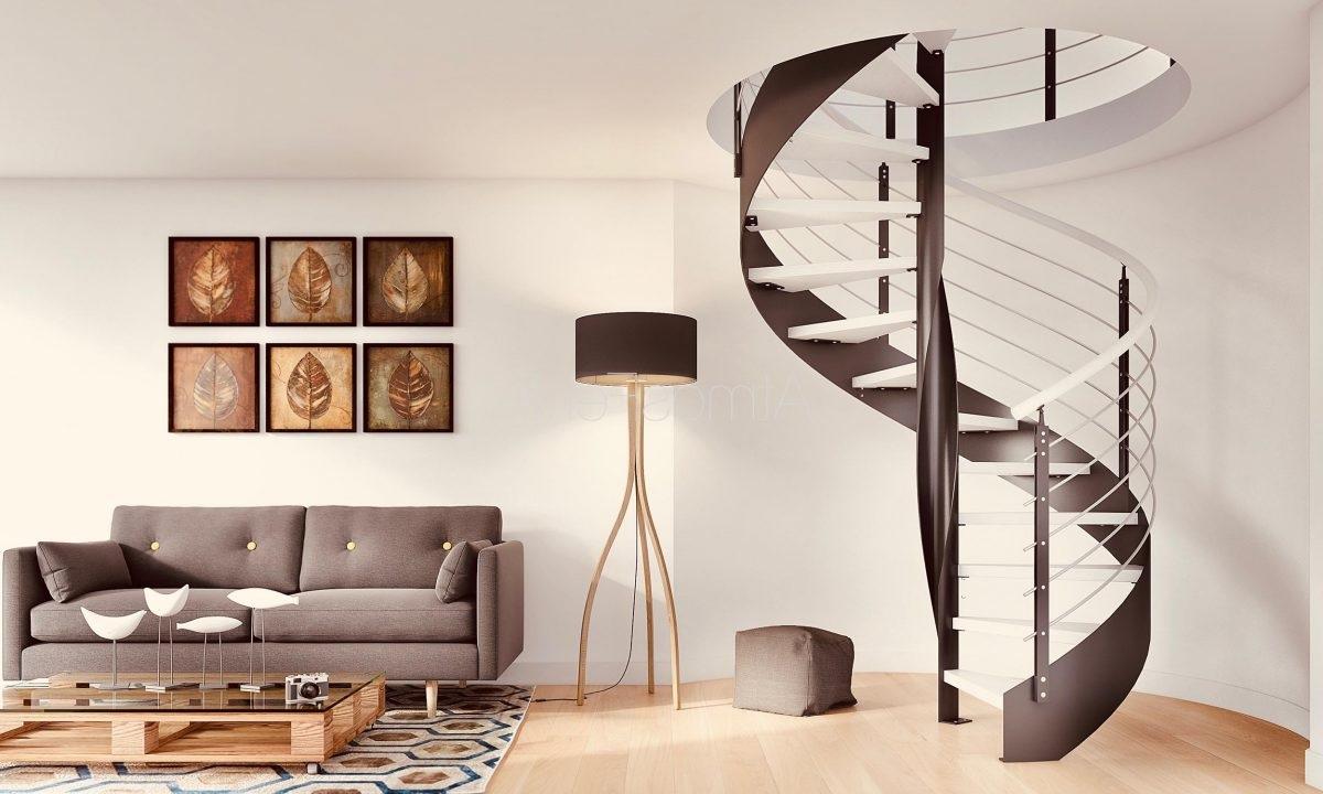 Escalier Colimaçon Blanc Et Chocolat –