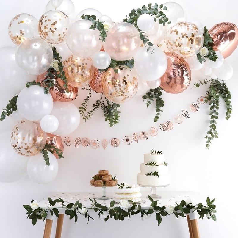 Arche De Ballons Eucalyptus Et Rose Poudre