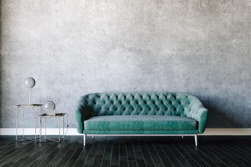 Canape Vert Turquoise Et Beton Cire