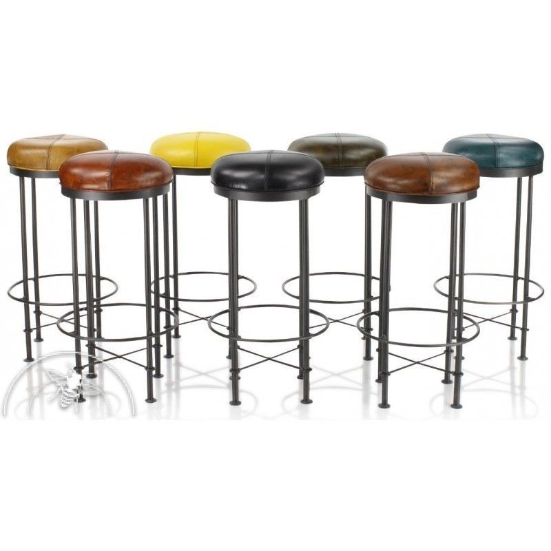Tabouret Industriel Esprit Bar Coussin Colore –