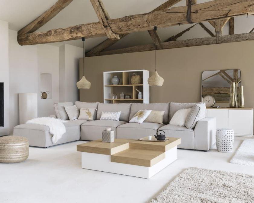 Un Salon Beige Blanc Et Taupe