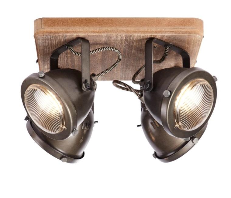 Plafonnier Industriel Spots Orientables Carmen Wood