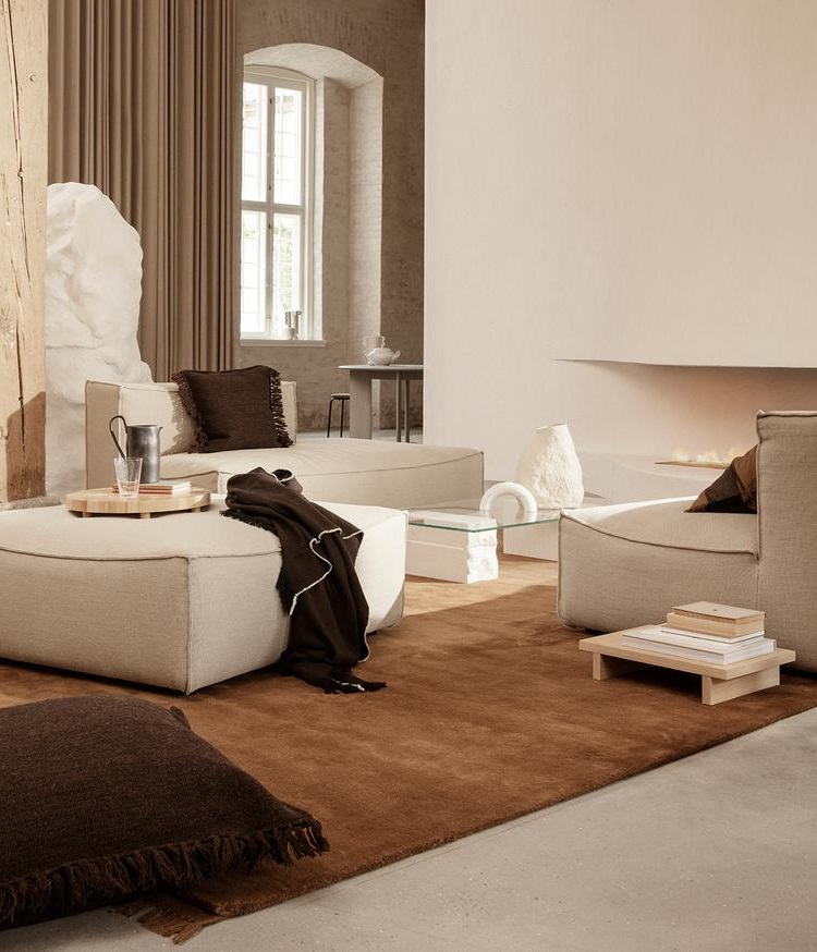 Salon Beige Et Blanc Textiles Chocolat