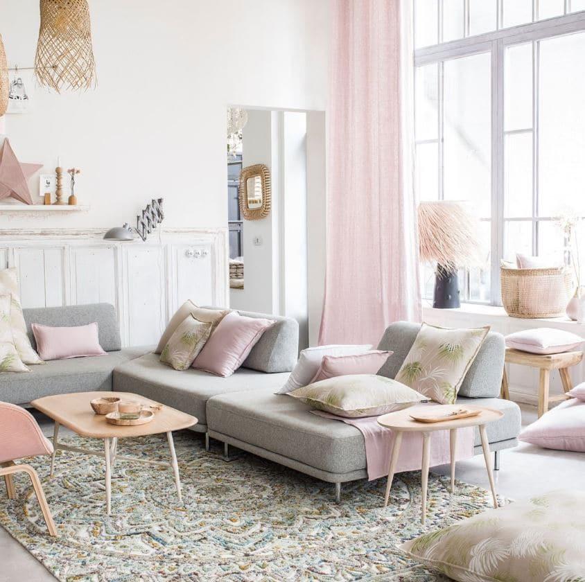 Salon Rose Pastel Et Gris