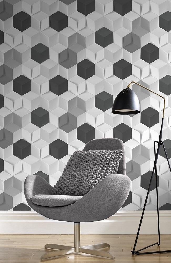 Hexagone 3d Blanc Alu