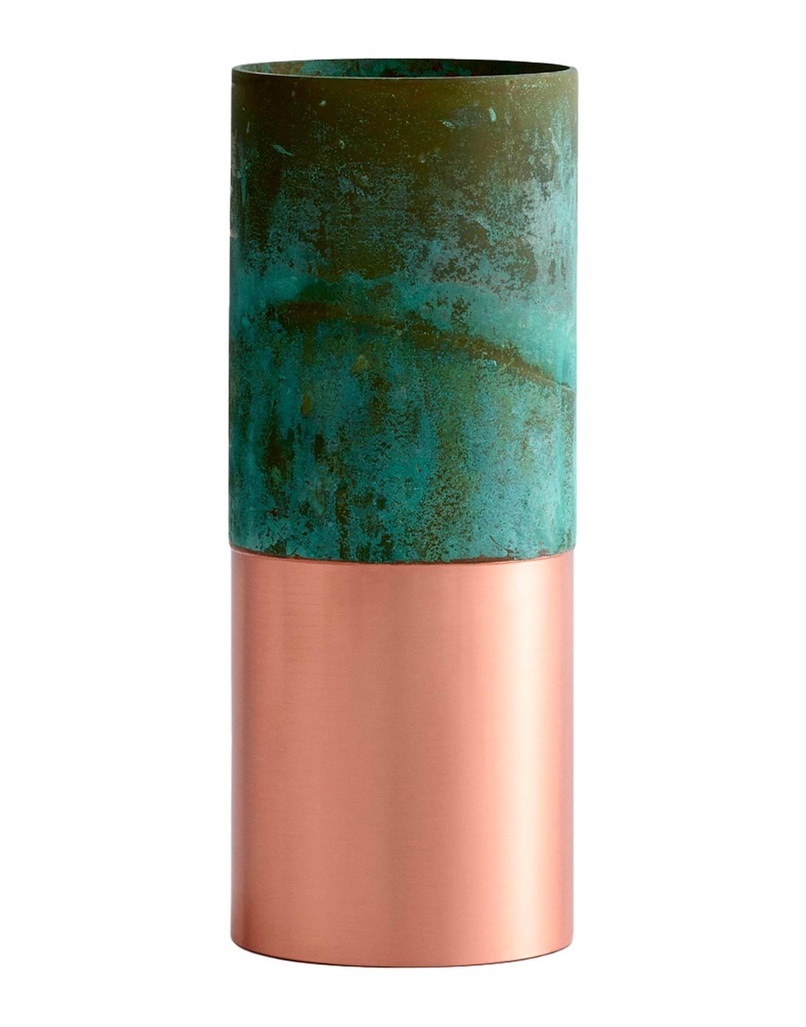 Vase Rose Gold Et Metal Effet Vert De Gris