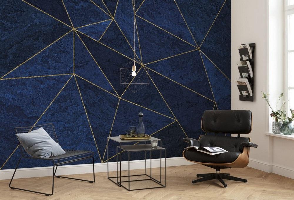 Papier Peint Panoramique La Mer Bleu Noir Et Or
