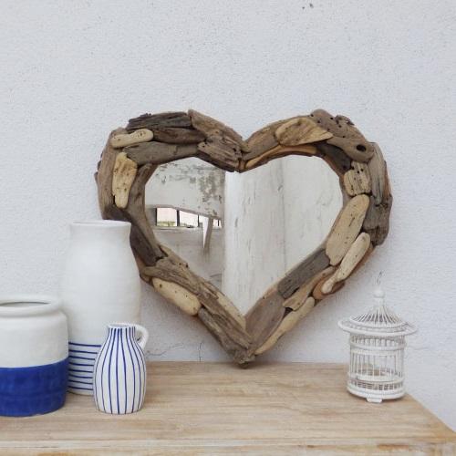 Petit Miroir Coeur En Bois Flotte