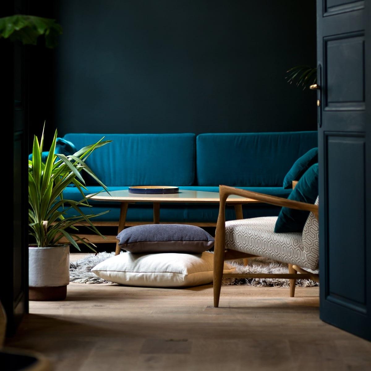 Salon Bleu Canard Et Bleu Paon