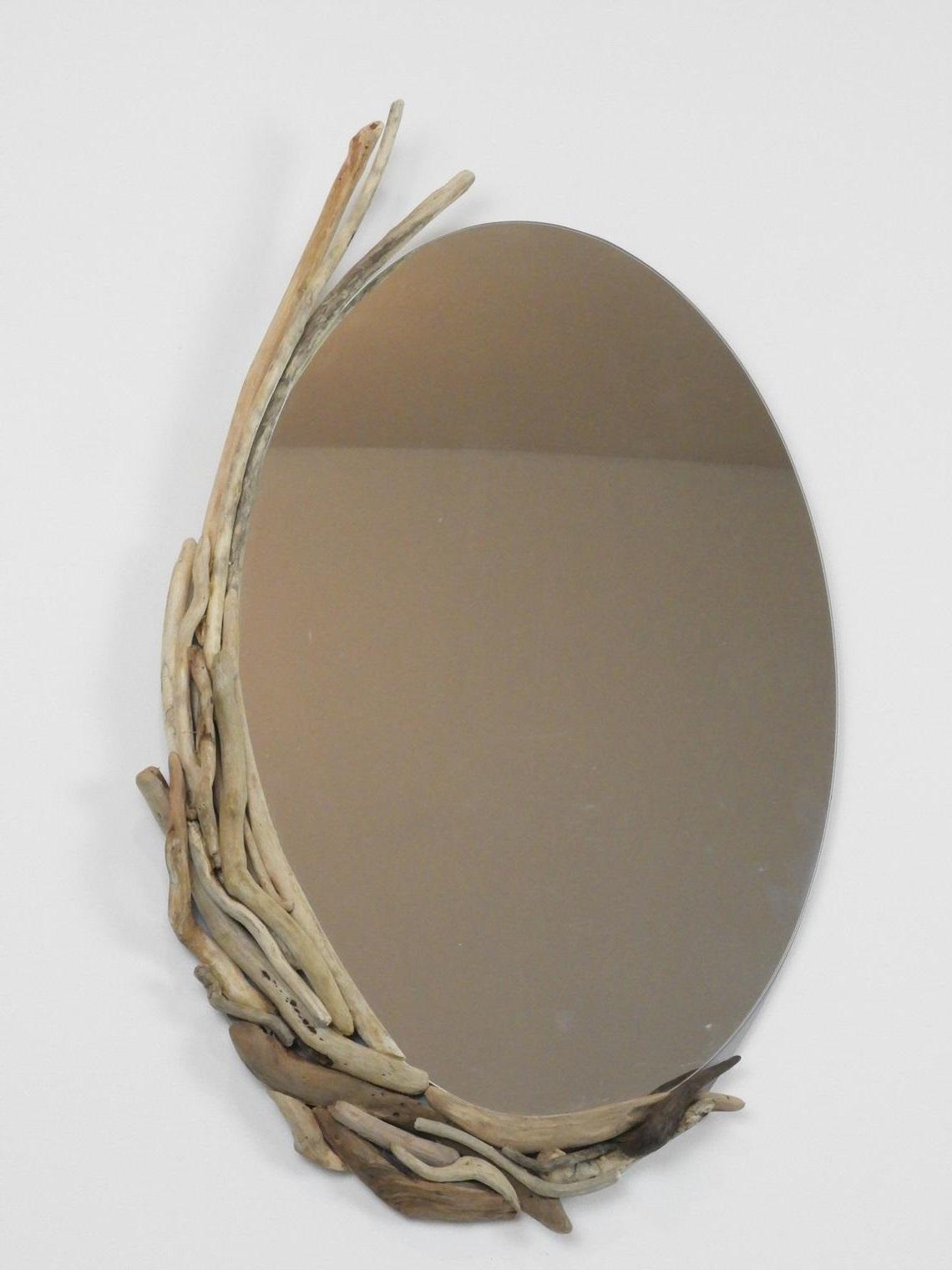 Miroir Ovale En Bois Flotte