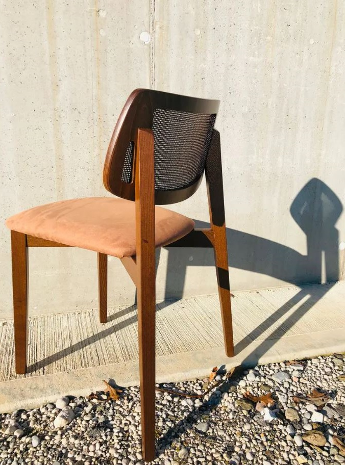 Chaise Design Alma En Bois Et Cannage