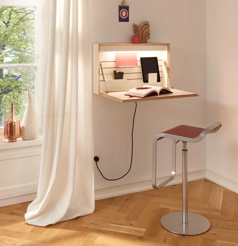bureau Rabattable Avec Lampe Et Prises Electrique Et Usb Müller