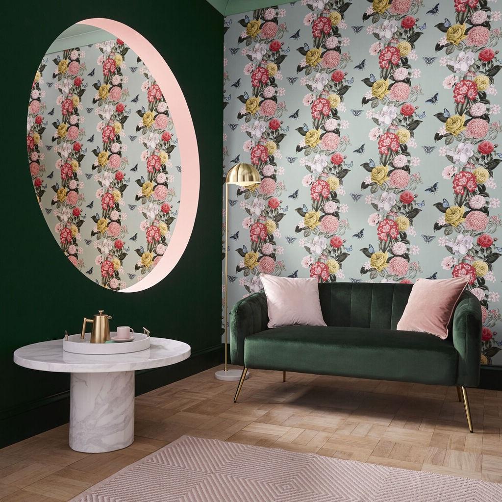 Rose Pale Et Vert Mint
