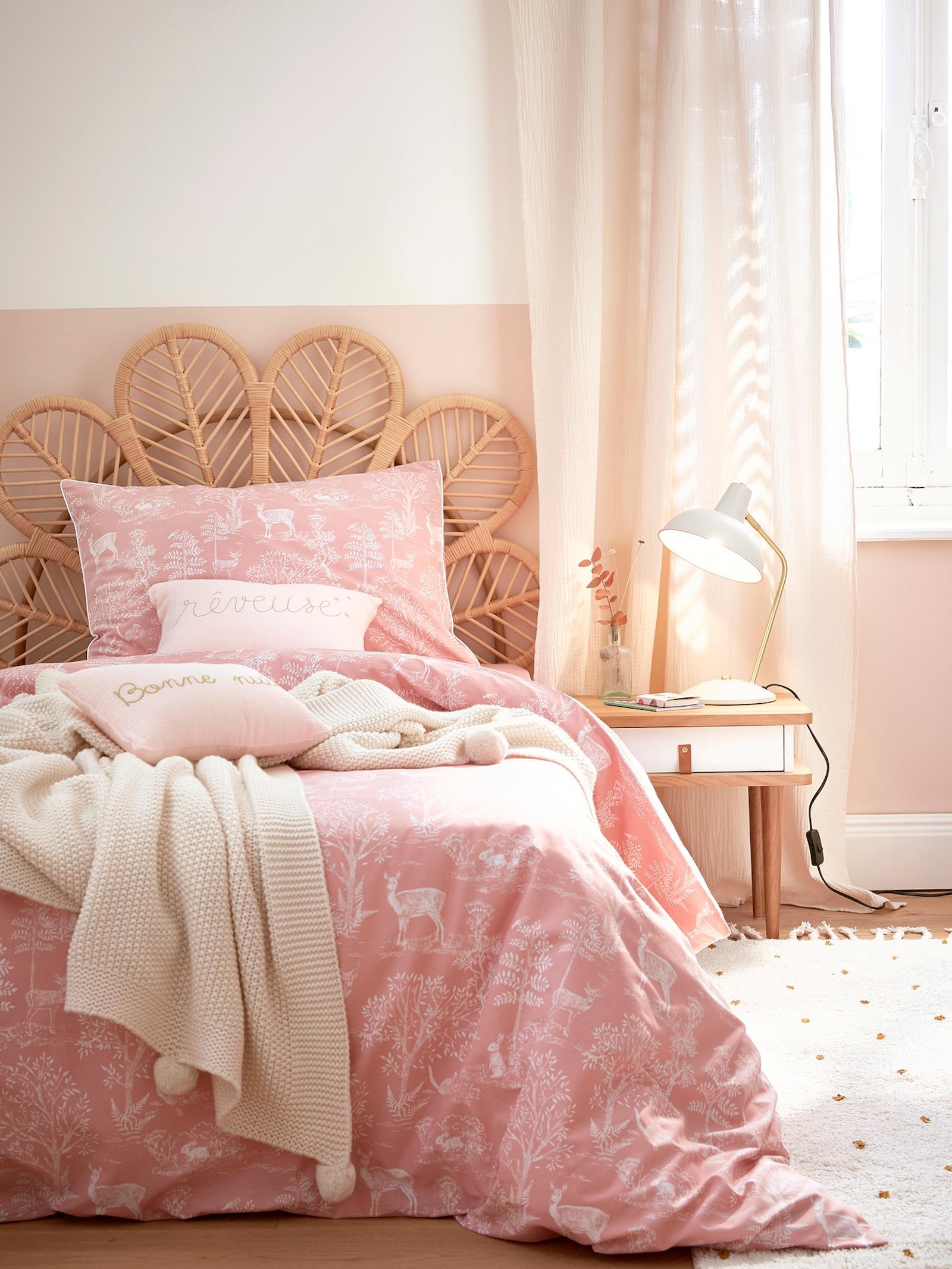 Chambre Retro Rose Pale Tête De Lit Rotin