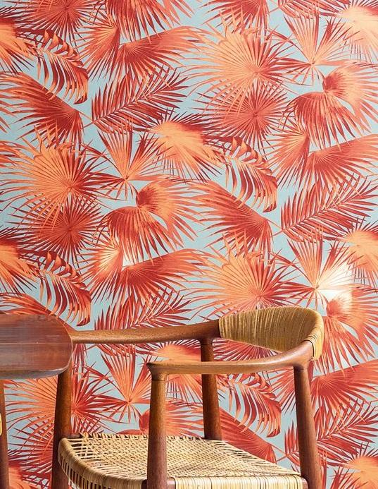 Papier Peint Jungle Rouge Orange