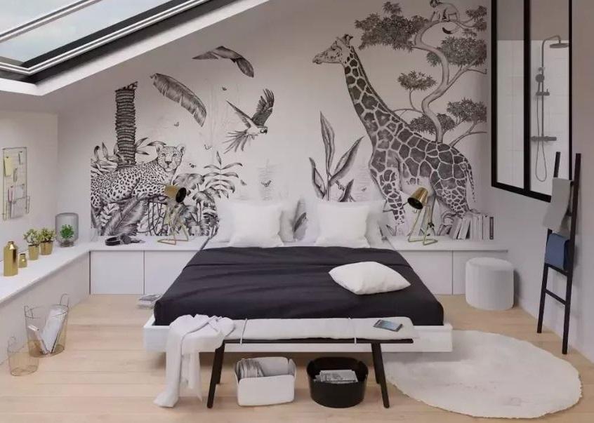 Un Papier Peint Panoramique Dans Une Petite Chambre
