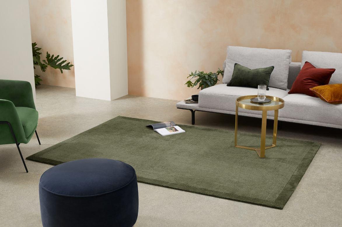 Salon Moderne Et Vert Mousse –