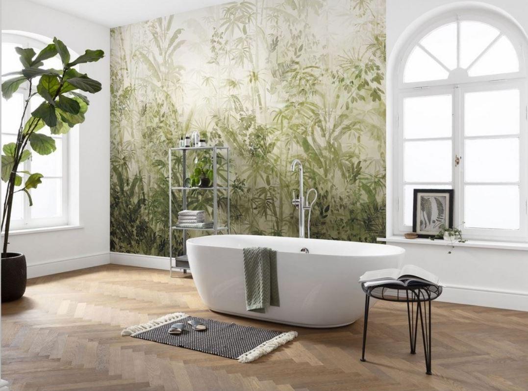 Une Salle De Bain Exotique Avec Papier Peint Panoramique